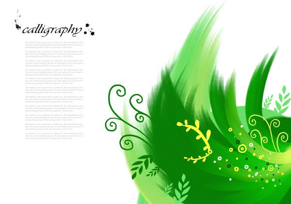 植物墨迹图案素材
