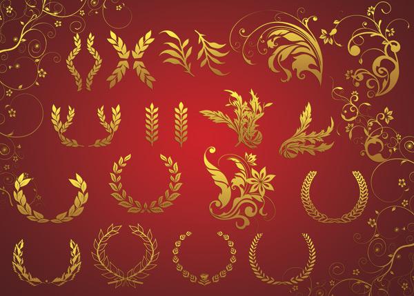 金色麦穗花纹-花纹边框高清图库-名片之家