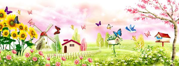 春天宽屏风景-自然风景高清图库-名片之家