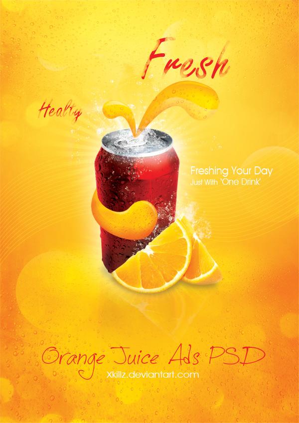 橙汁汽水海报素材