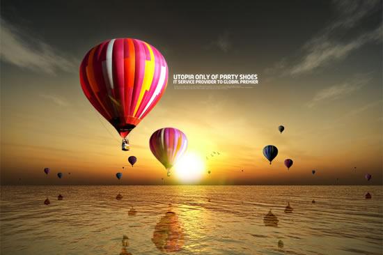 热气球海洋风景-自然风景高清图库-名片之家