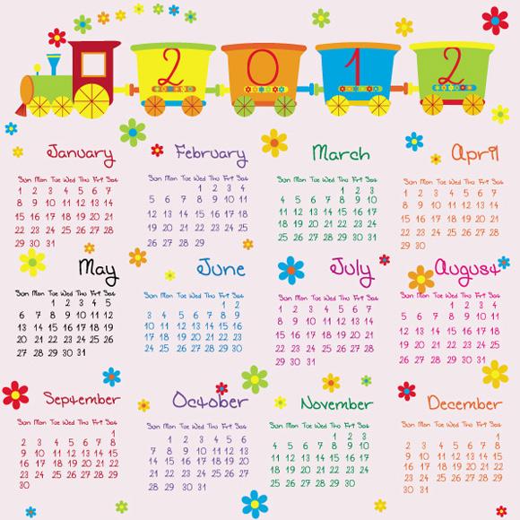 可爱2012年日历