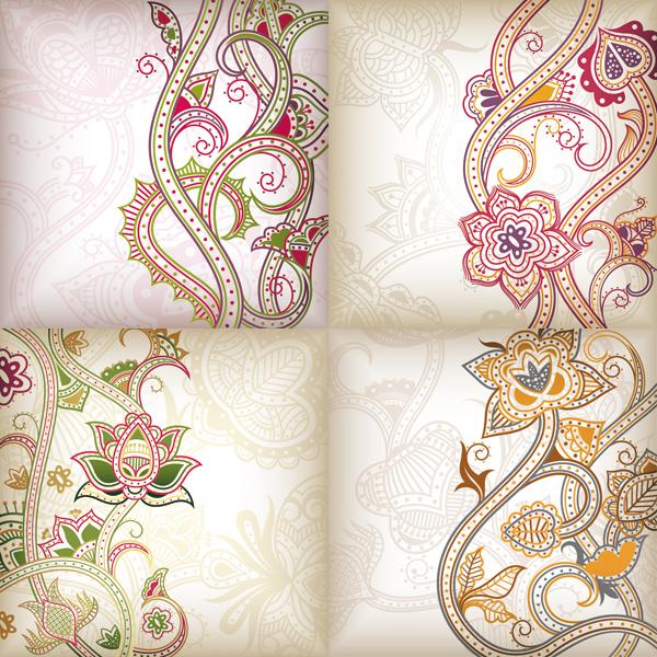 抽象花卉花纹背-背景矢量图库-名片之家