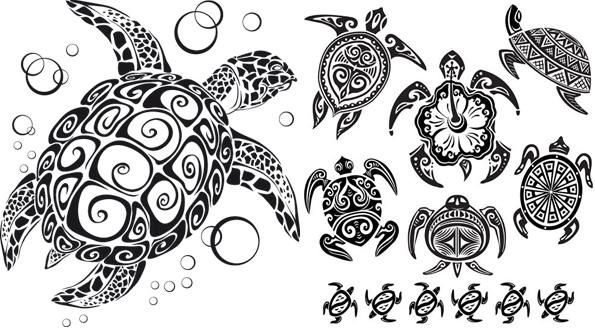 乌龟图腾矢量-图案矢量图库-名片之家
