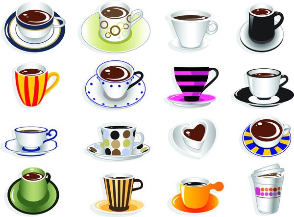 可爱咖啡杯-饮品矢量图库-名片之家