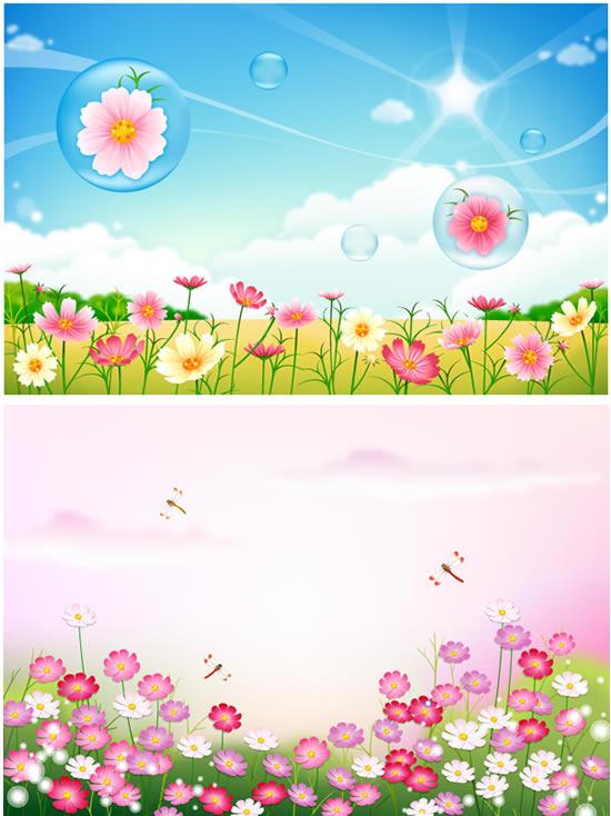 美丽的鲜花-花草树木矢量图库-名片之家