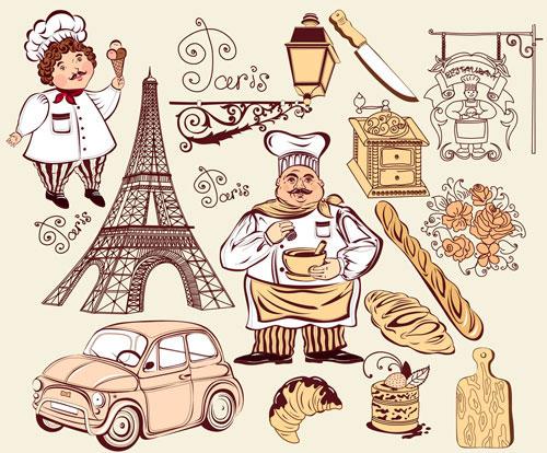 法国巴黎厨师-职业人物矢量图库-名片之家