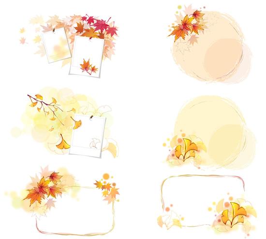 黄色枫叶边框素材