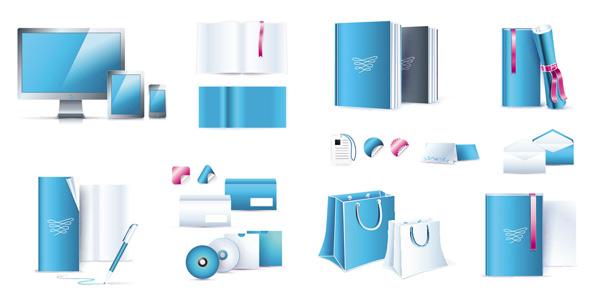蓝色办公用具素材