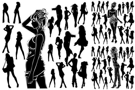 时尚女性人物剪影素材