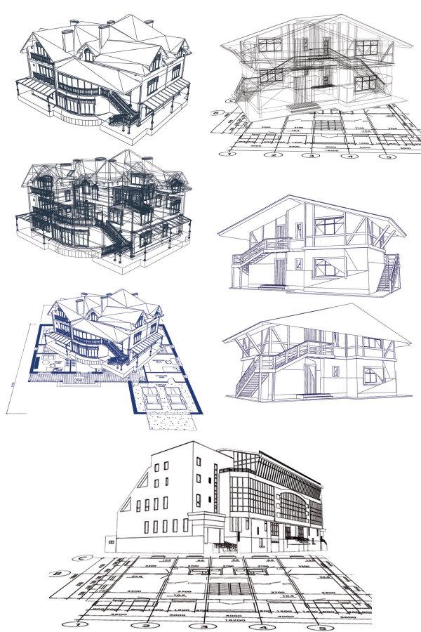 建筑线稿图素材