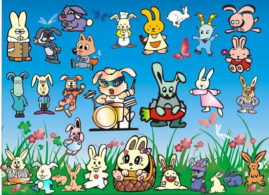 卡通小兔子矢-卡通动物矢量图库-名片之家