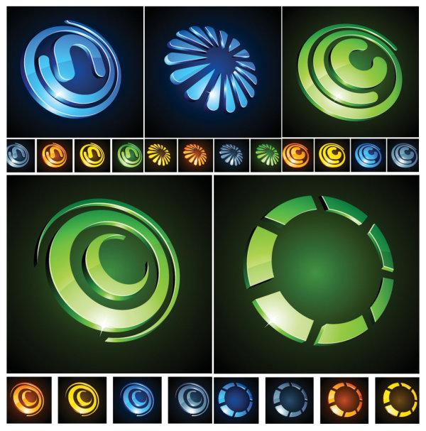 立体圆形图标
