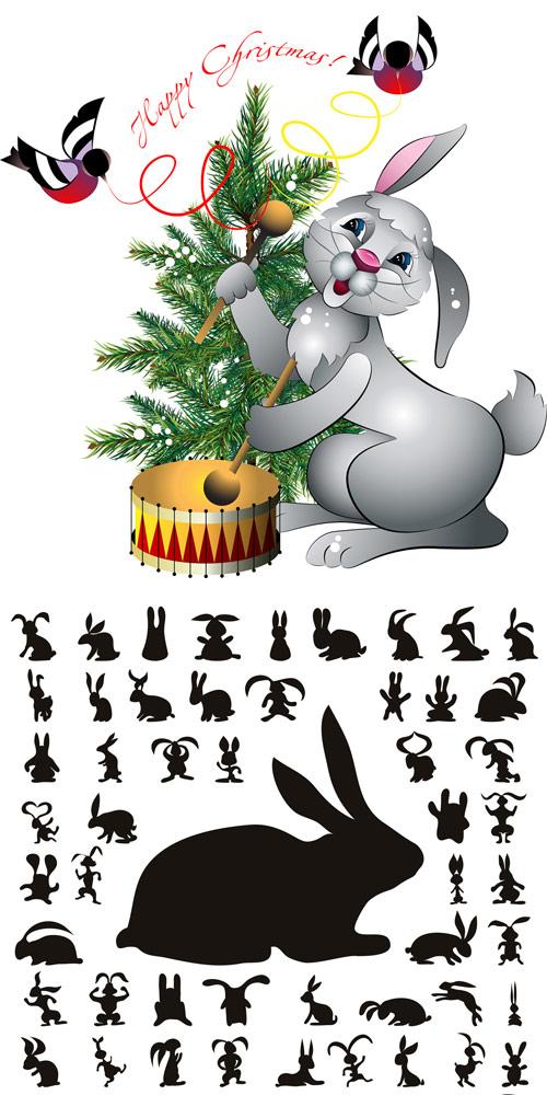 兔子剪影素材