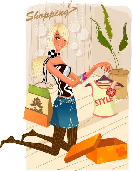 时尚女性购物3素材