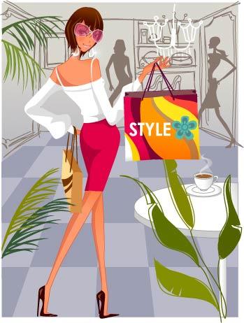 时尚女性购物4素材