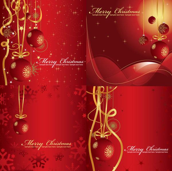 喜庆的圣诞背景-圣诞节矢量图库-名片之家