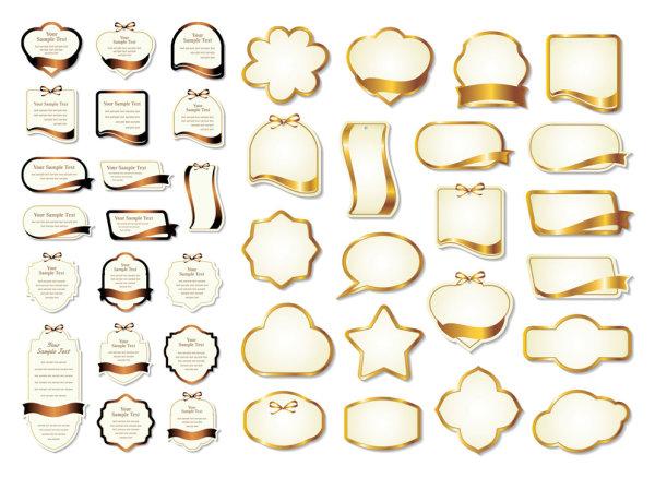 金色丝带label素材