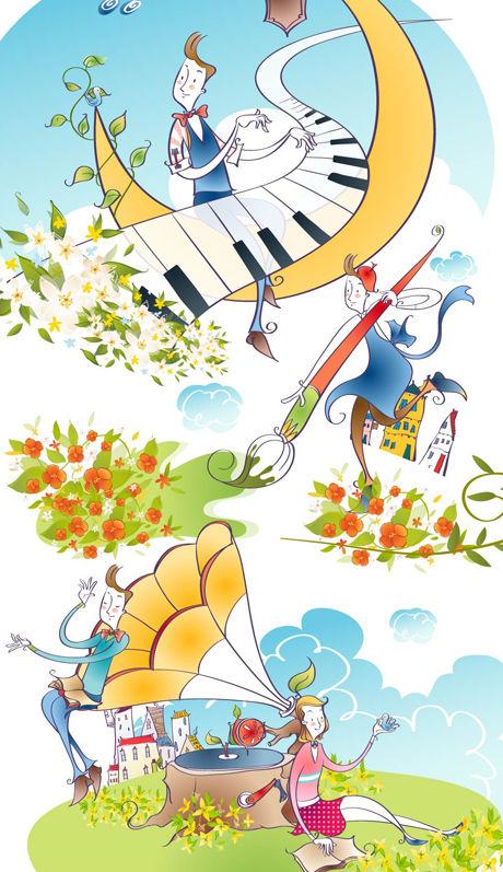 音乐主题人物-卡通角色矢量图库-名片之家