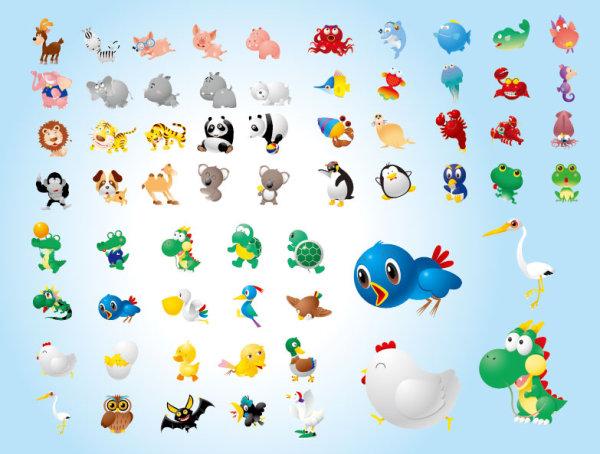 可爱动物矢量-卡通动物矢量图库-名片之家