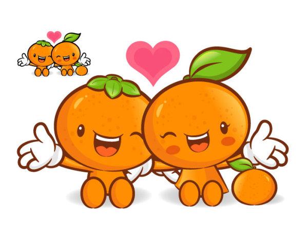 卡通橙子矢量