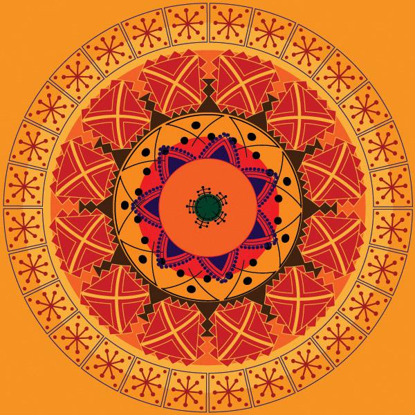 圆形古典花纹
