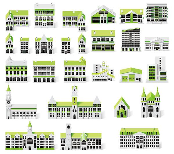 绿色小房子矢量-各式图标矢量图库-名片之家