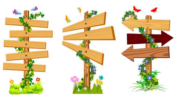 藤蔓木板指示牌素材
