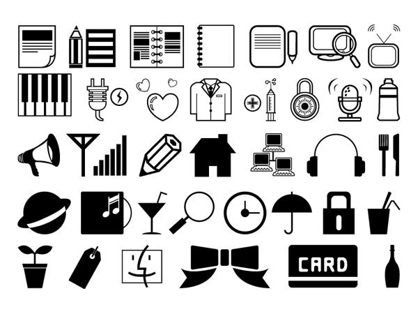 简洁黑白图标1-各式图标矢量图库-名片之家