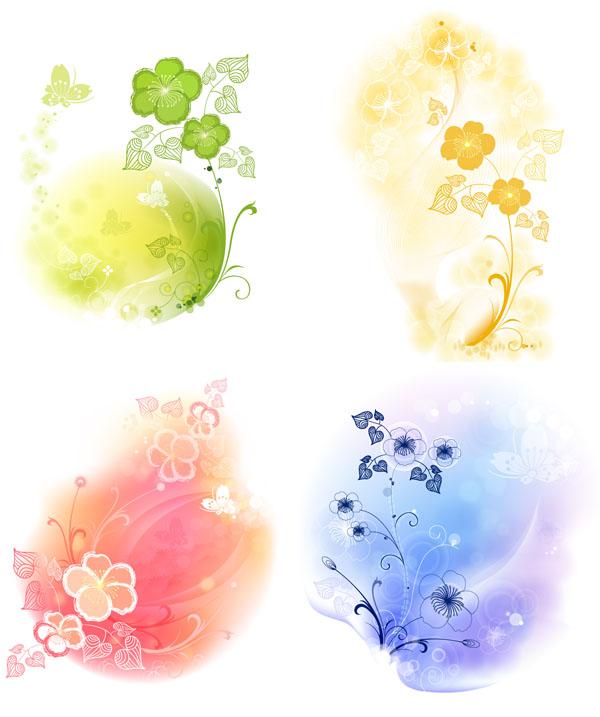 梦幻花朵花纹素材