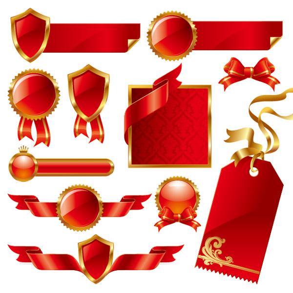 红色丝带矢量素材