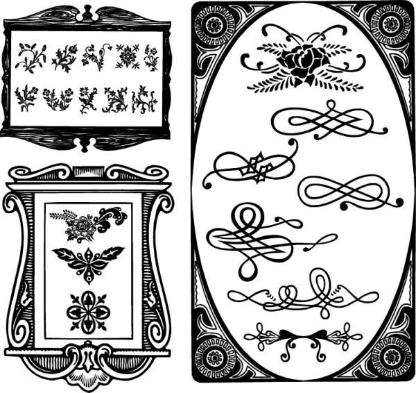欧式花纹边框-花边矢量图库-名片之家
