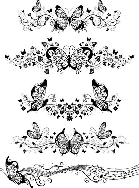蝴蝶装饰花边素材