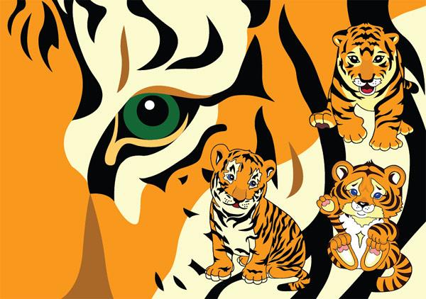小老虎矢量-野生动物矢量图库-名片之家
