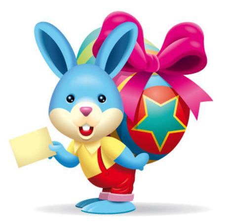 背彩蛋的兔子-卡通动物矢量图库-名片之家