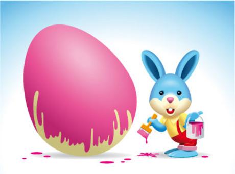 画彩蛋的兔子-卡通动物矢量图库-名片之家