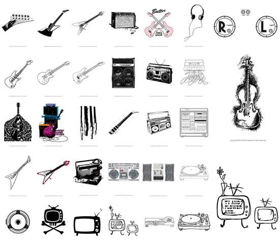 吉他乐器矢量素材