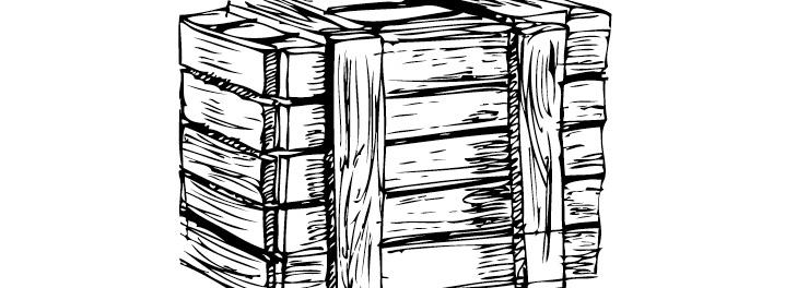 黑白木箱矢量素材