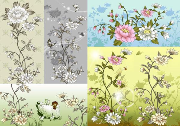 中国风花卉昆虫素材