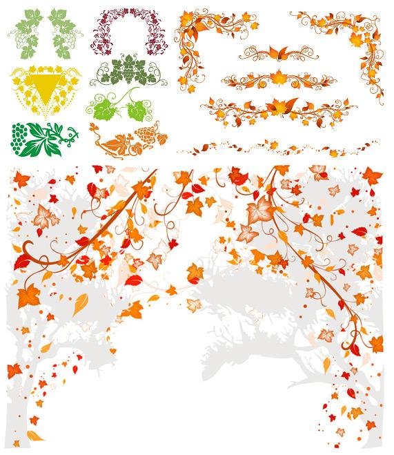 植物花边星矢量素材
