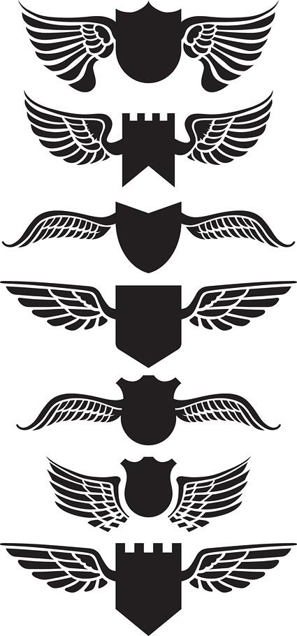 翅膀盾牌矢量