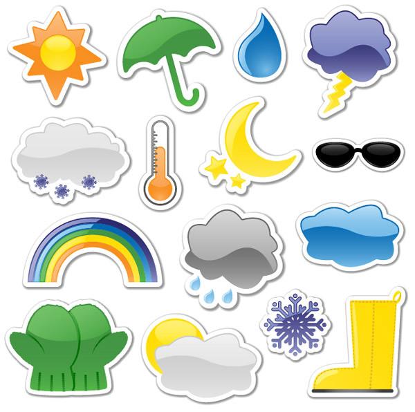 贴纸天气图标-卡通其它矢量图库-名片之家