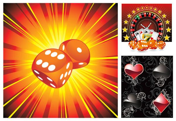 扑克色子矢量素材