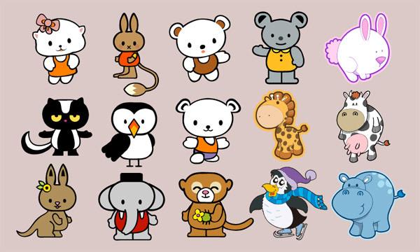 可爱卡通动物矢量素材