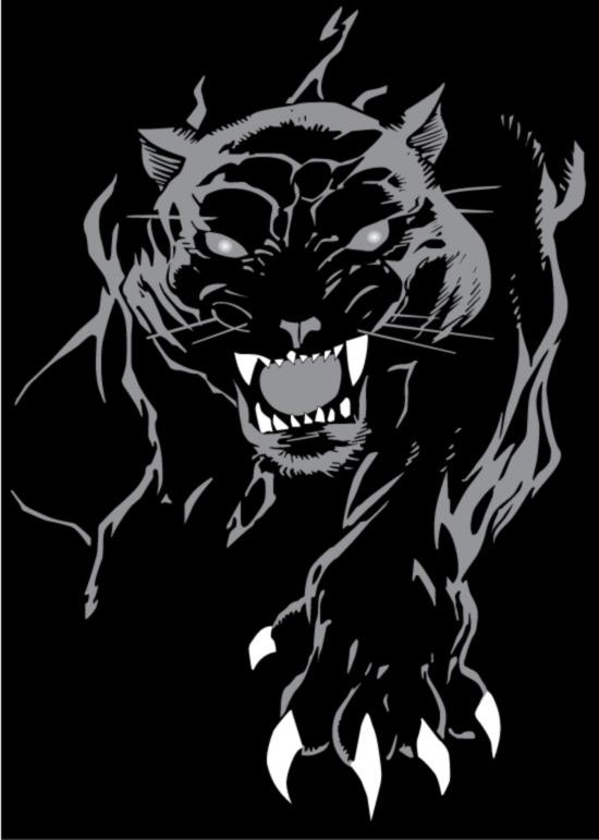 凶猛的黑豹-野生动物矢量图库-名片之家