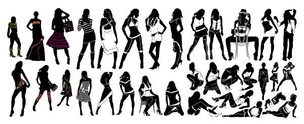 时尚女性剪影-女性人物矢量图库-名片之家