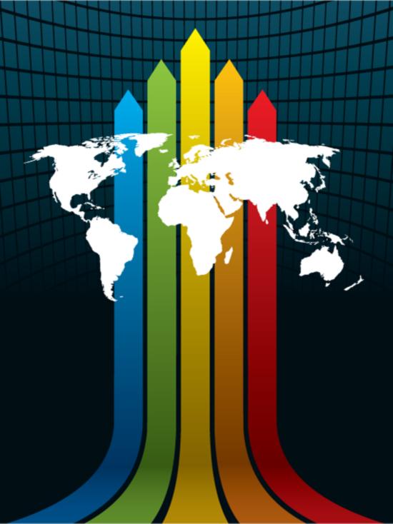彩虹线条世界地图素材