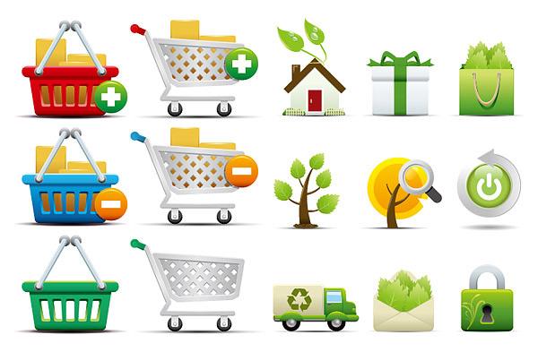 购物和环保图标-环保图标矢量图库-名片之家