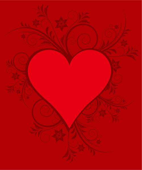 红色心形花纹素材
