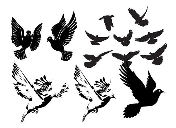 黑白鸽子或剪影-家禽家畜矢量图库-名片之家